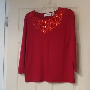 Alfred Dunner Women's Cotton Sweater with Sequins